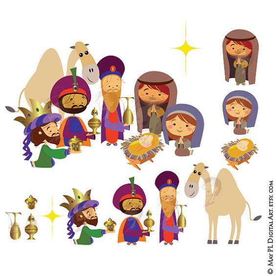 Vector nativity scene three. Clipart christmas borders mary baby jesus