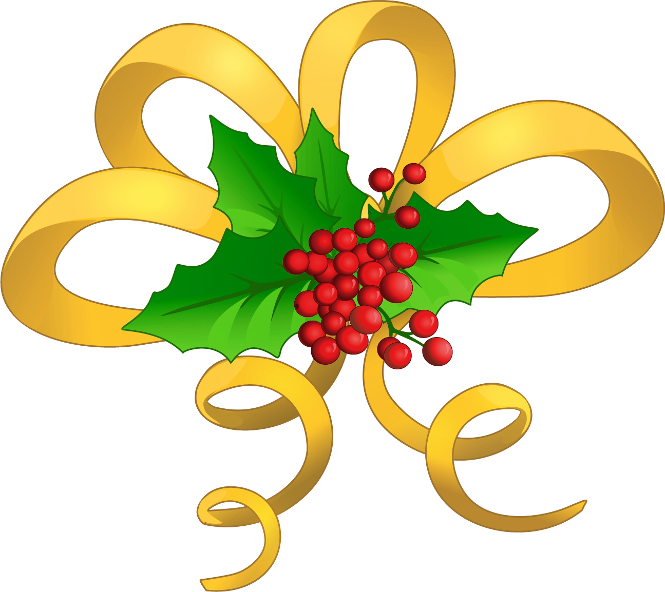 Clipart christmas bow jpg library library Christmas Yellow Bow with Mistletoe PNG Clipart | Gallery ... jpg library library