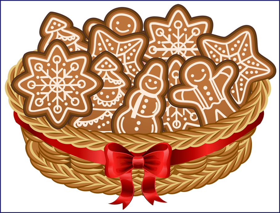 Clipart christmas cookies banner transparent download Marvelous Christmas Basket With Gingerb Cookies Png Clip Art Image ... banner transparent download