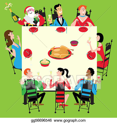 Clipart christmas dinner party vector black and white stock Vector Illustration - Holiday dinner with santa. EPS Clipart ... vector black and white stock