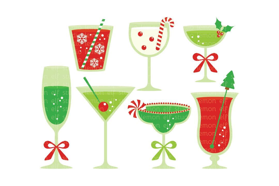Clipart christmas drinks clip black and white stock Christmas Cocktails-Digital Clipart (LES.CL53) | Graphic Design ... clip black and white stock