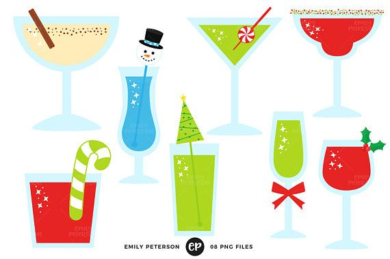 Clipart christmas drinks graphic download Christmas Clip Art, Cocktails Clipart, Holiday Drinks Clip Art ... graphic download
