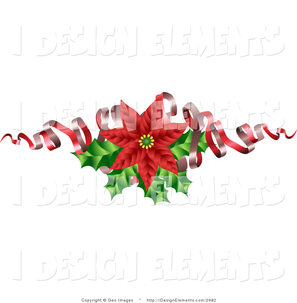 Clipart christmas flower and ribbon png picture library download Christmas Flower Clipart - Clipart Kid picture library download