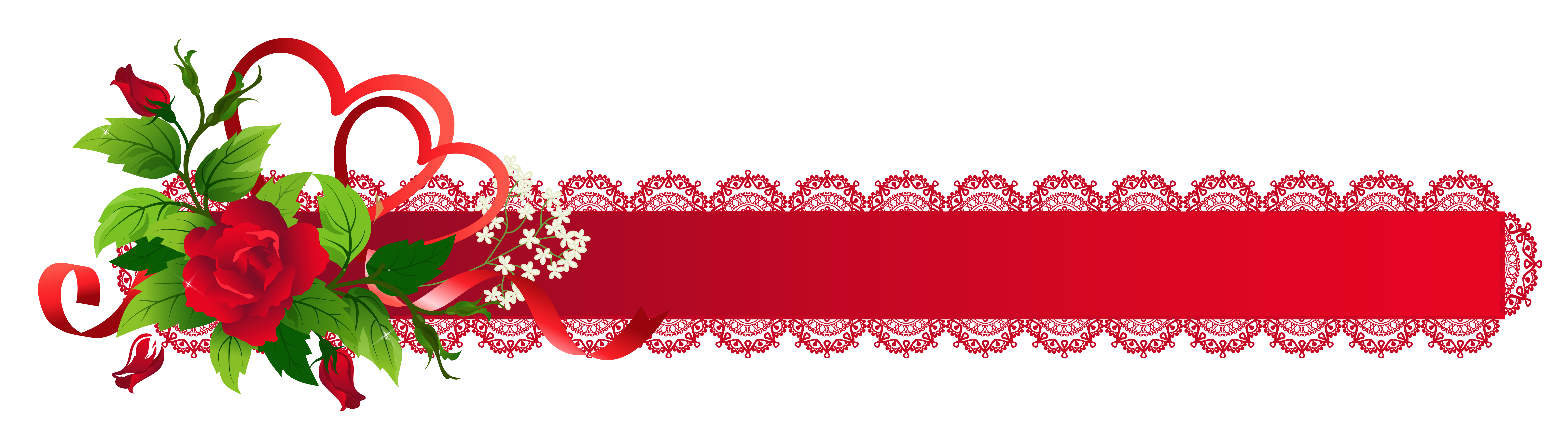 Free red snowflake border clipart clip freeuse Red Deco Ribbon with Rose PNG Clipart clip freeuse
