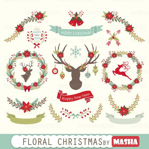 Clipart christmas flower and ribbon png banner free library Christmas clipart: