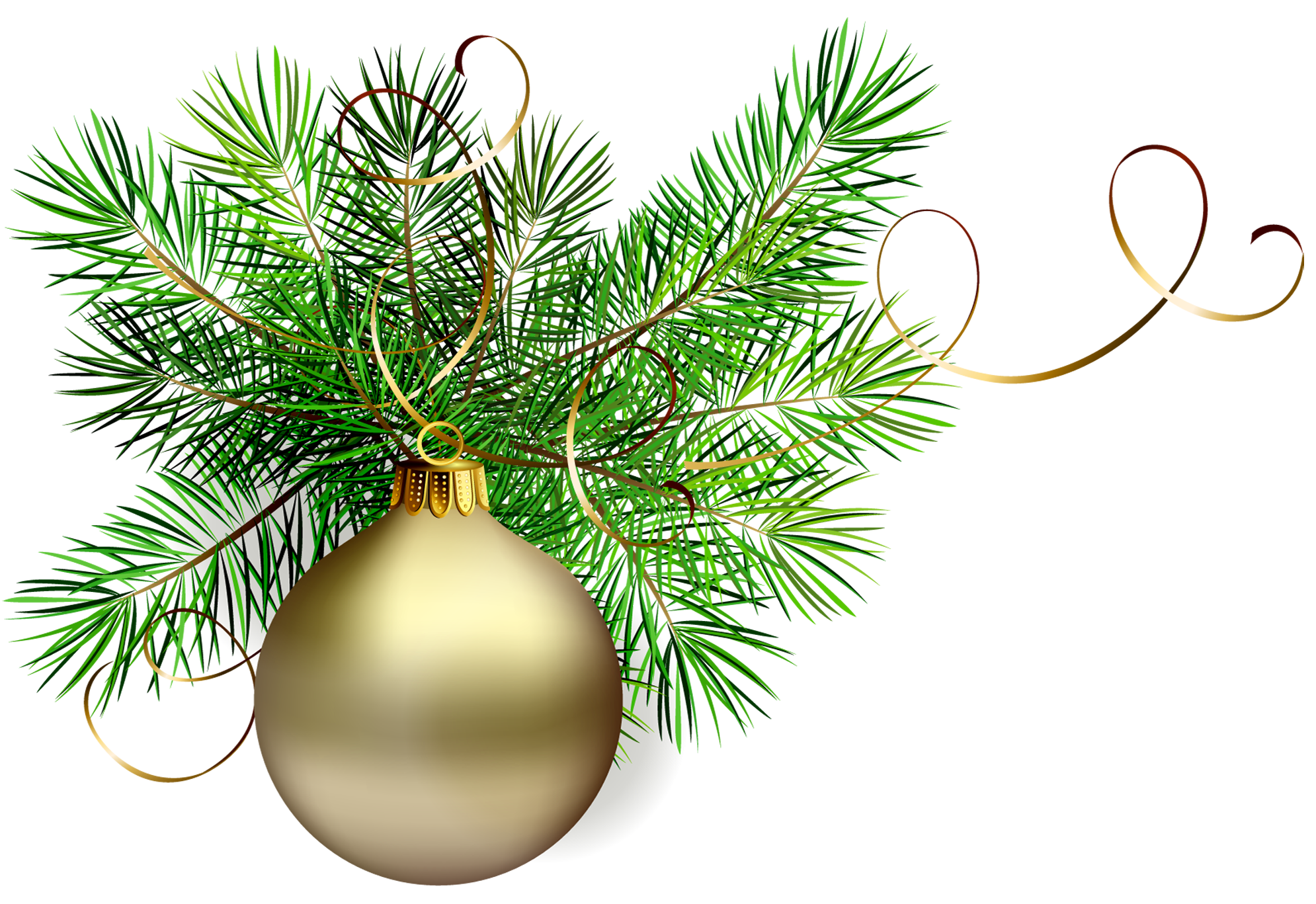 Transparent christmas clipart vector royalty free library Transparent Gold Christmas Ball with Pine Clipart | Gallery ... vector royalty free library
