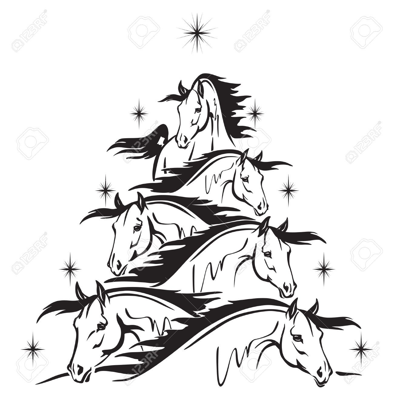 Clipart christmas horse clip transparent Stock Vector | holidays | Christmas tree drawing, Christmas tree ... clip transparent