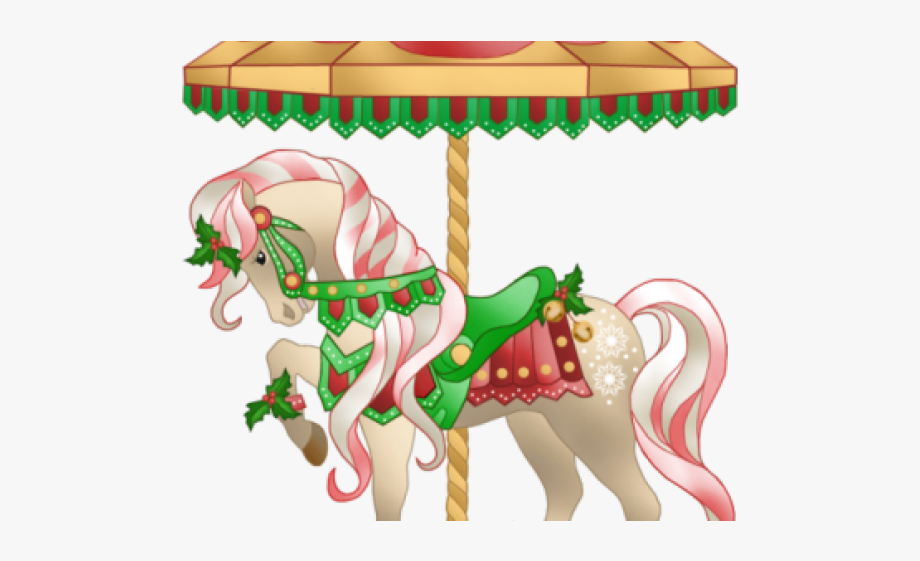 Clipart christmas horse png black and white download Carousel Clipart Christmas - Horse , Transparent Cartoon, Free ... png black and white download