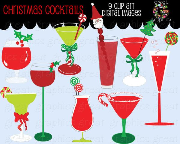 Clipart christmas invitation clip freeuse download Christmas Clipart Drink Clipart Digital Christmas Invitation Clip Art Party  Clipart Martini Clipart Printable - Instant Download clip freeuse download