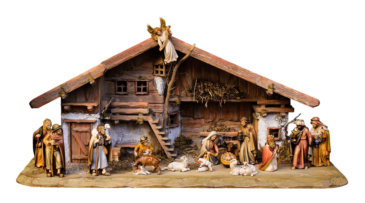 Clipart christmas nativity clip black and white Christmas Nativity Scene Angel on Roof transparent PNG - StickPNG clip black and white