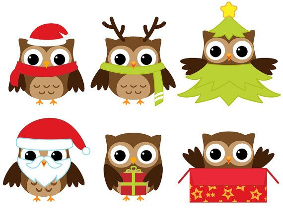 Santa and owls clipart vector library library 77+ Christmas Owl Clip Art | ClipartLook vector library library