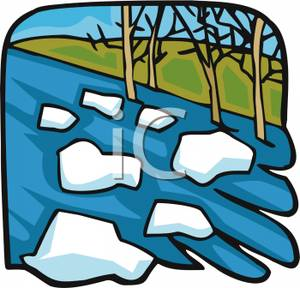 Clipart chunks vector library Royalty Free Clipart Image: Chunks of Ice Being Swept Away In the River vector library