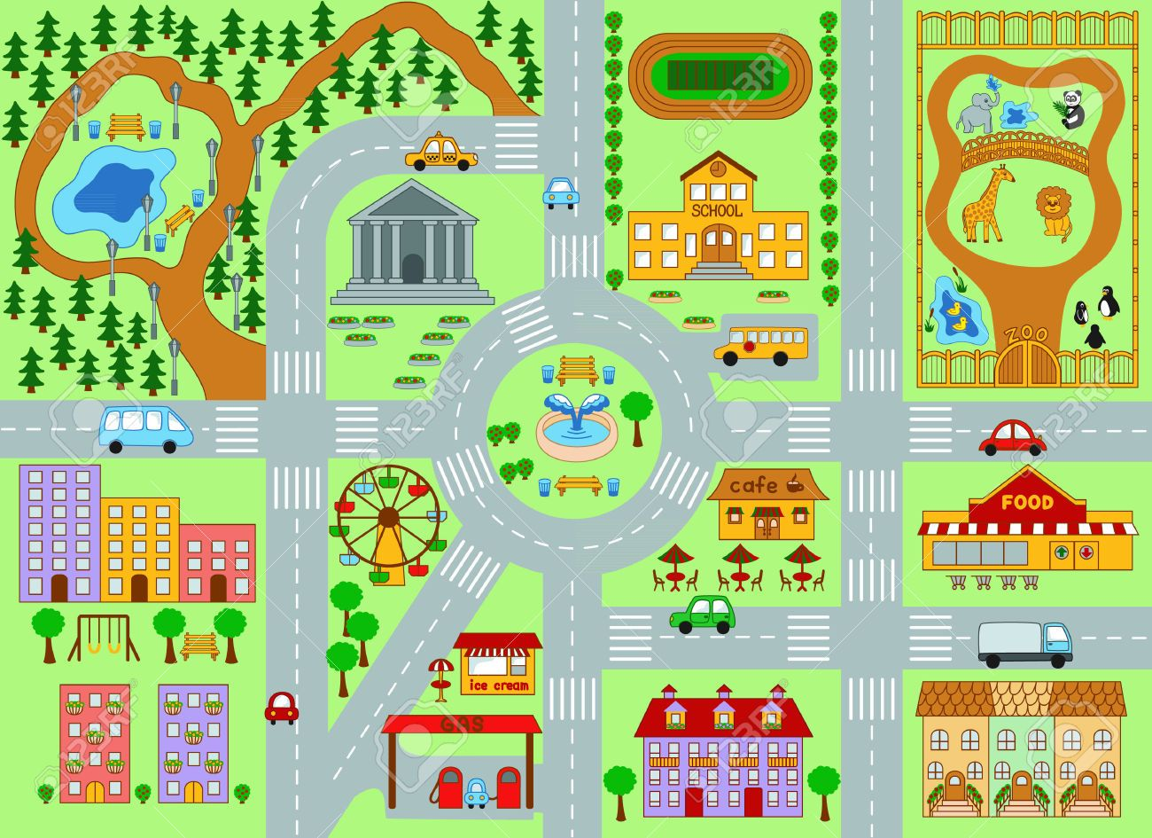 Clipart town map