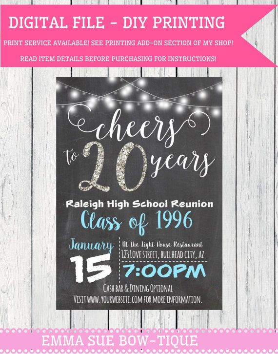 Clipart class of 1996 royalty free download Any Year Class Reunion -Personalized Chalkboard invitation DIY ... royalty free download