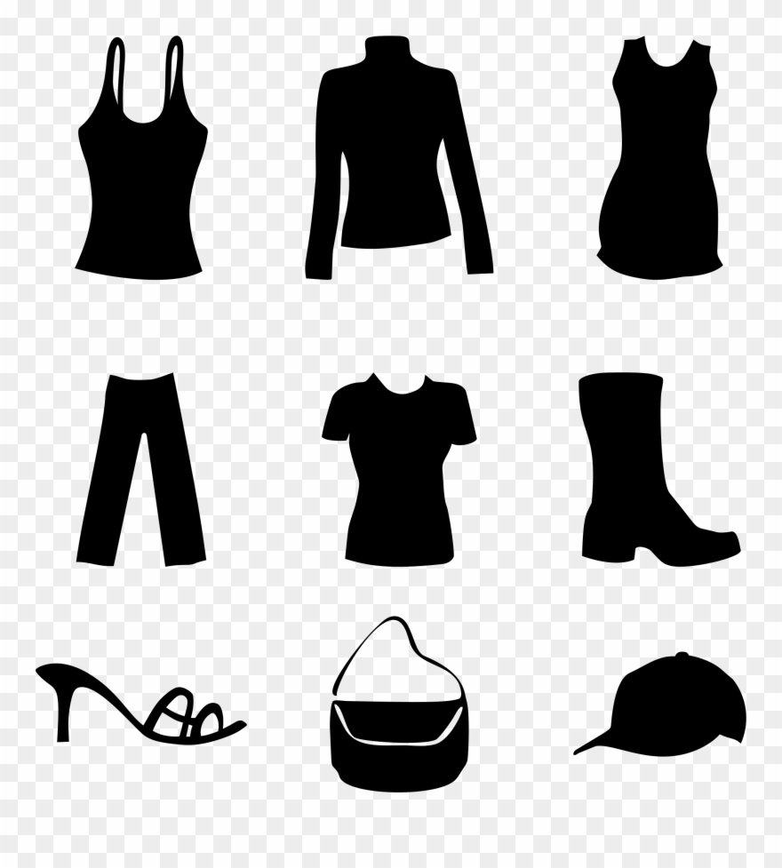 Clipart clothes and shoes black and white download Big Image - Clothes And Shoes Clipart - Png Download (#173601 ... black and white download
