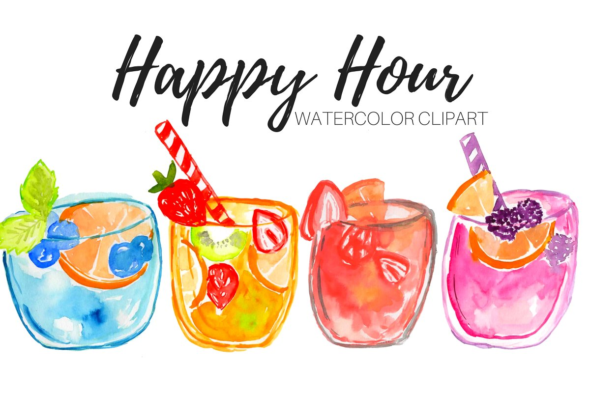 Clipart cocktail clipart royalty free stock Watercolor Drinks Cocktail Clipart clipart royalty free stock