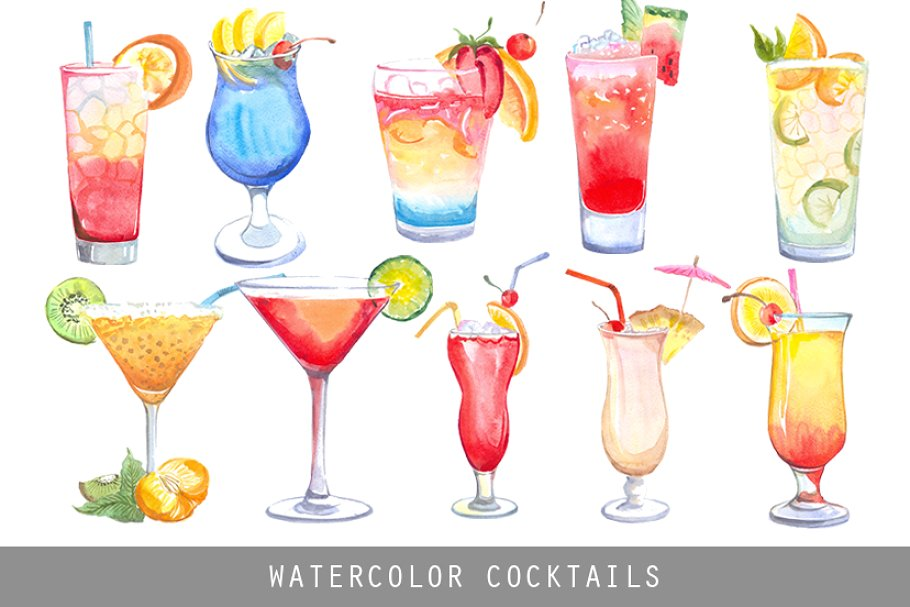 Clipart cocktail clipart download Watercolor Cocktails clipart download