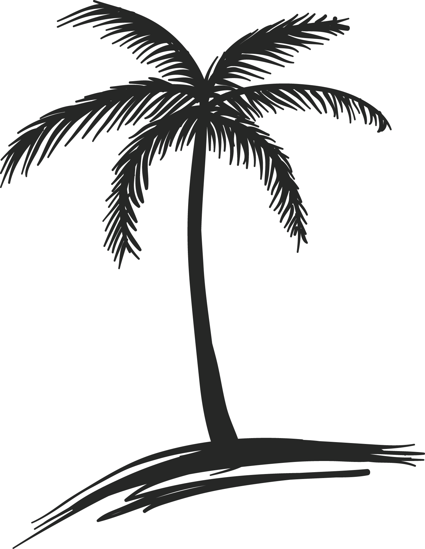 Coconut tree clipart black and white picture 28+ Collection of Coconut Tree Drawing Black | High quality, free ... picture