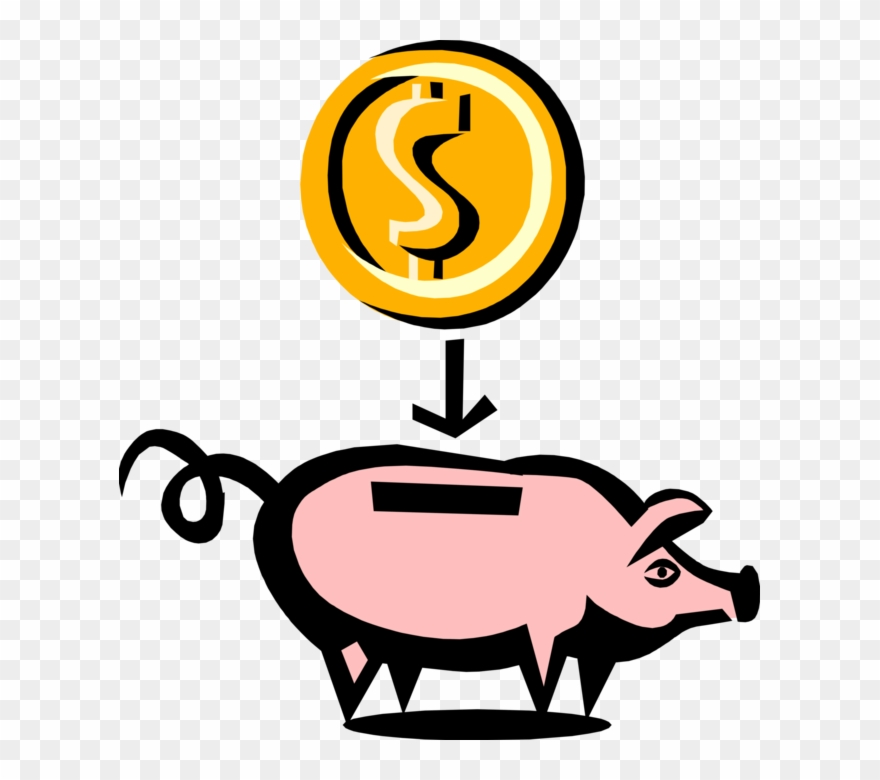 Clipart coin with a pig on it jpg library library Vector Illustration Of Piggy Bank Money Coin Container - Pig Clip ... jpg library library