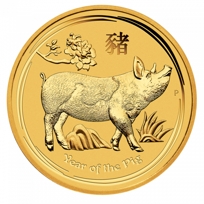 Clipart coin with a pig on it black and white 1/2 oz Lunar II Pig Gold Coin (2019) - Bitgild.com black and white