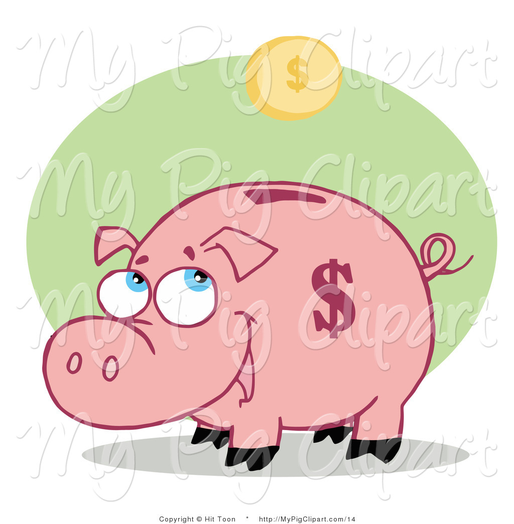 Clipart coin with a pig on it picture black and white library Vector Swine Clipart of a Coin Bank Pig by Hit Toon - #14 picture black and white library