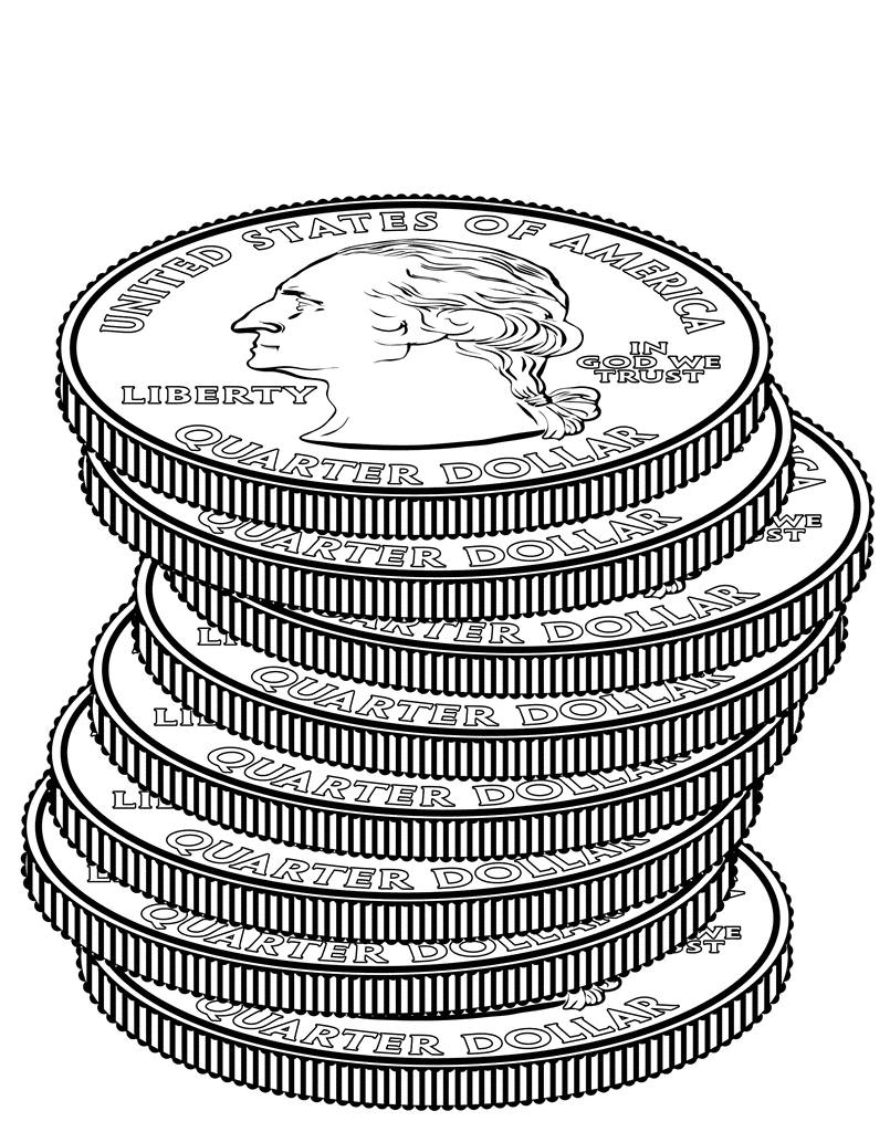 Free black and white clipart quarter illustration. Best of design digital