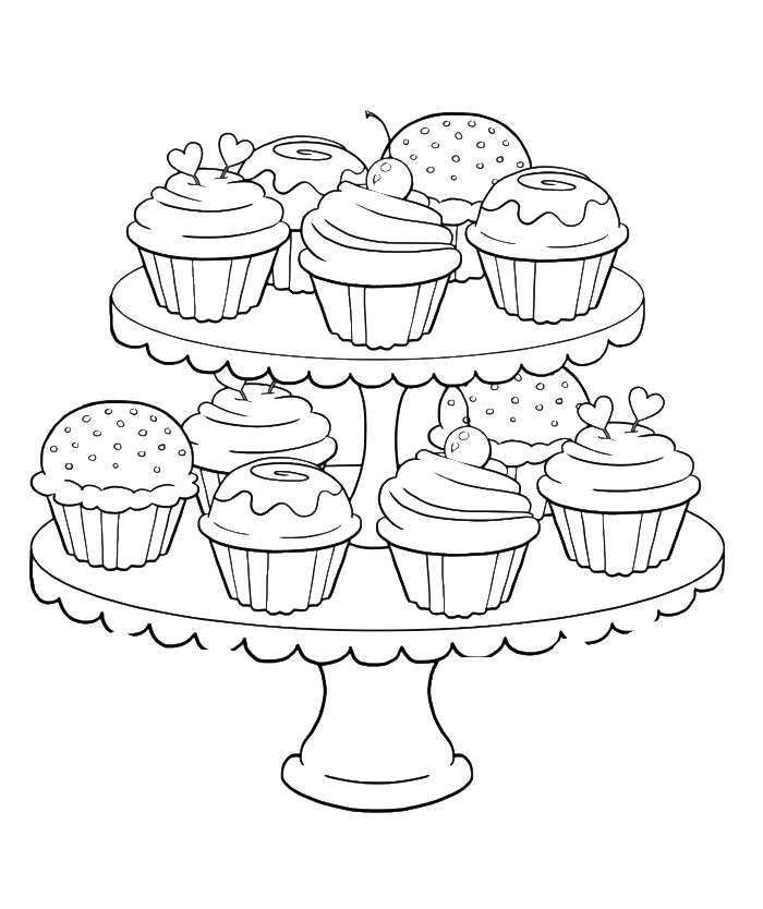 Clipart coloring book dog chew toys jpg free stock Birthday Cupcake Steady And Delicious Coloring Page - Birthday ... jpg free stock