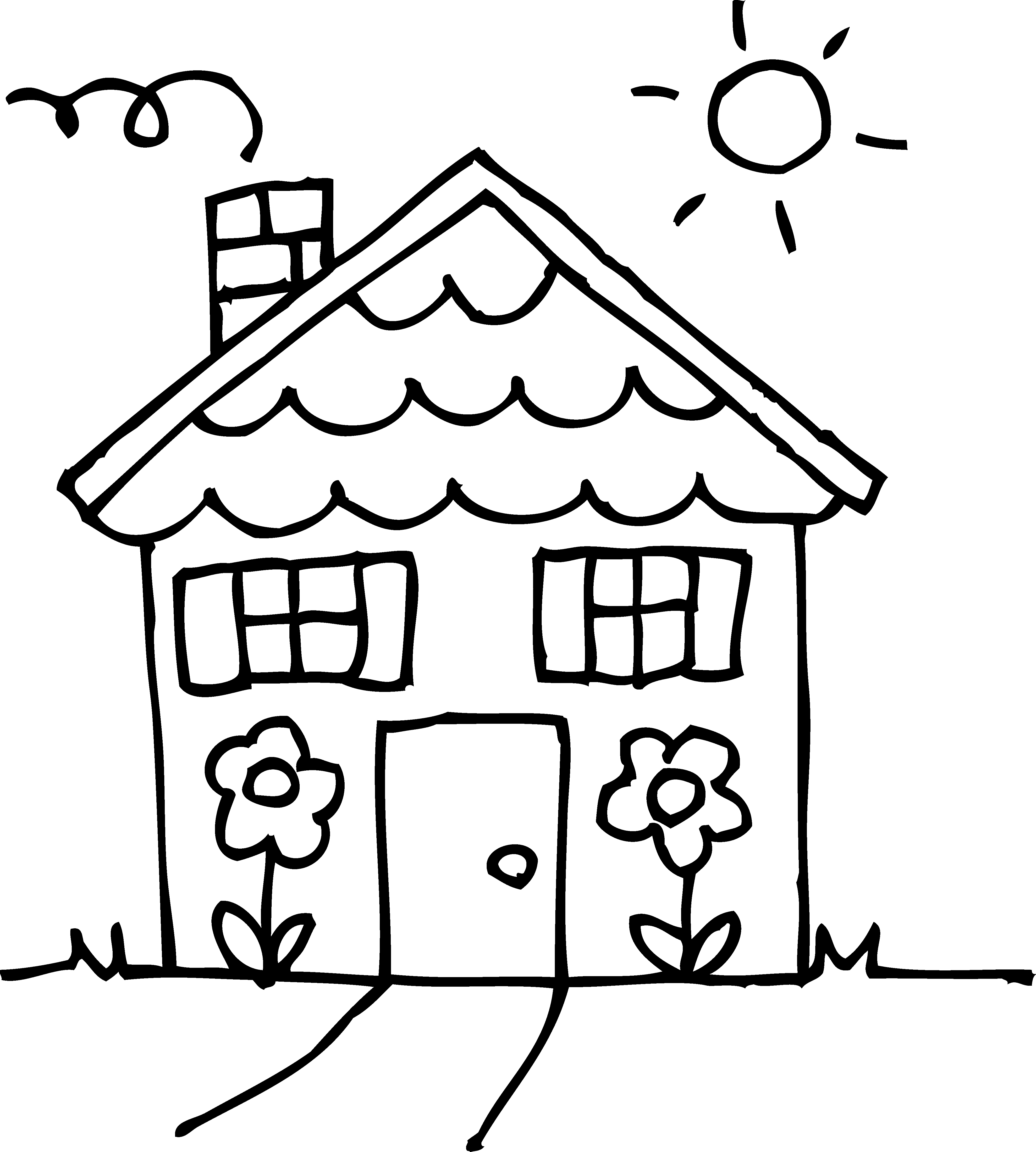 Free clipart printable black and white line art houses. Coloring cliparts download clip