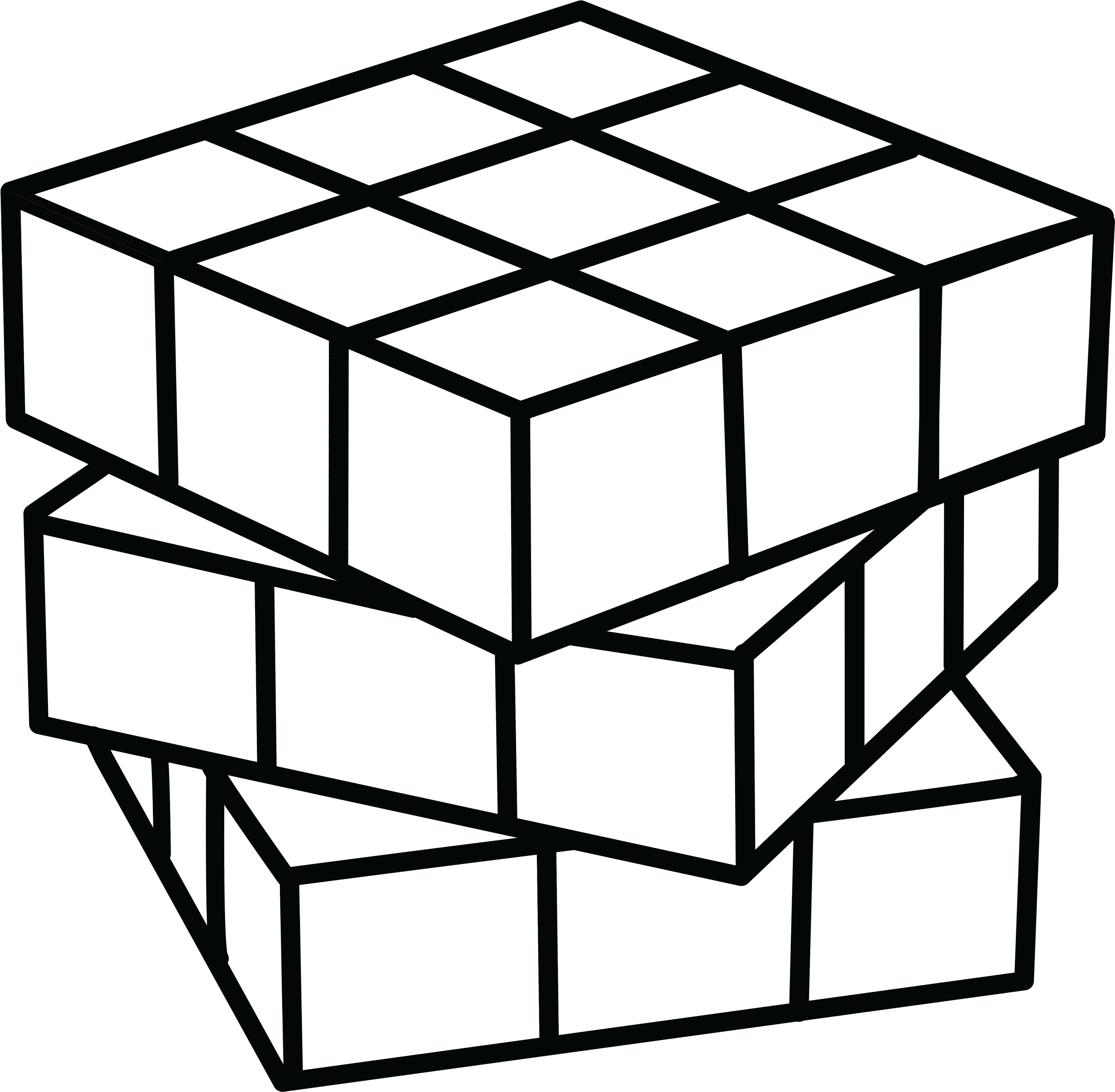 Clipart coloring pages svg black and white Cube Clipart Coloring Page - Rubix Cube Coloring Pages - Png ... svg black and white