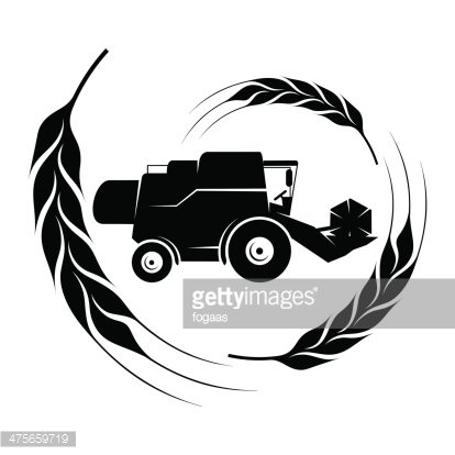 Combine harvester clipart black and white