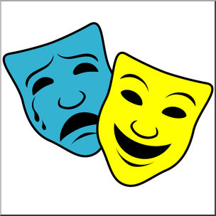 Clipart comupy picture black and white stock Clip Art: Comedy and Tragedy Masks 1 Color I abcteach.com | abcteach picture black and white stock