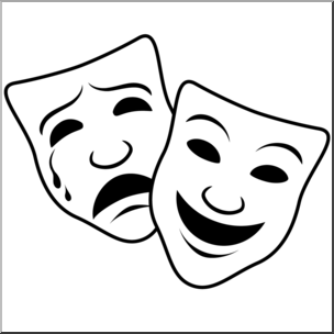 Clipart comupy clipart free Clip Art: Comedy and Tragedy Masks 1 (coloring page) I abcteach.com ... clipart free