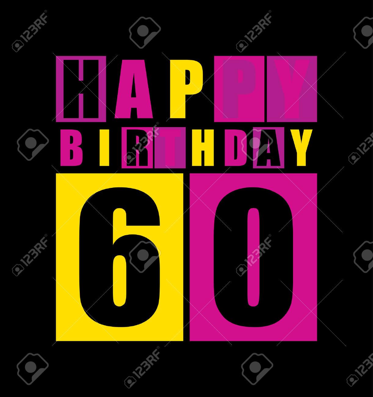 Clipart compleanno 60 anni picture stock Carta Di Compleanno Retro Felice Compleanno 60 Anni Gift Card ... picture stock