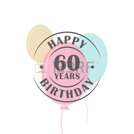 Clipart compleanno 60 anni download Buon Compleanno 60 Anni Rotonda Logo Con Palloncini Festa, Modello ... download