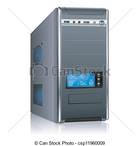Clipart computer cover png freeuse library Vector Clipart of Modern Computer Case - Realistic 3D Computer ... png freeuse library