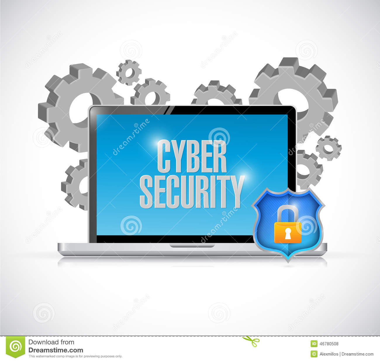 Clipart computer security png royalty free download Cyber Security Computer Gears And Shield. Stock Illustration ... png royalty free download