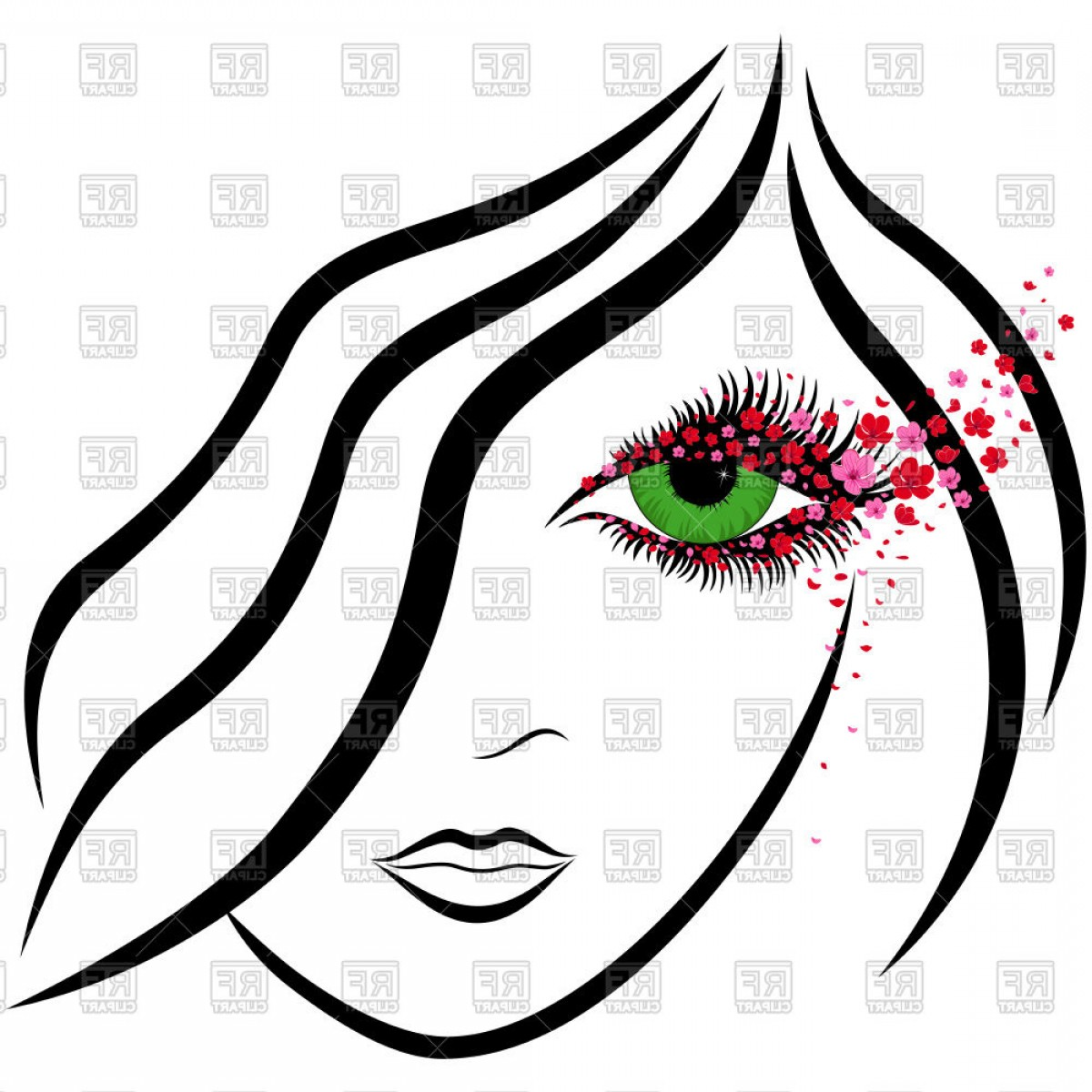 Womens eyes with lashes clipart clip download Abstract Girl Stylish Face With Green Eye Vector Clipart | SOIDERGI clip download