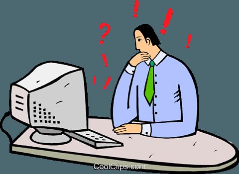 Clipart confuso clipart free uomo d\'affari confuso al suo computer immagini grafiche vettoriali ... clipart free
