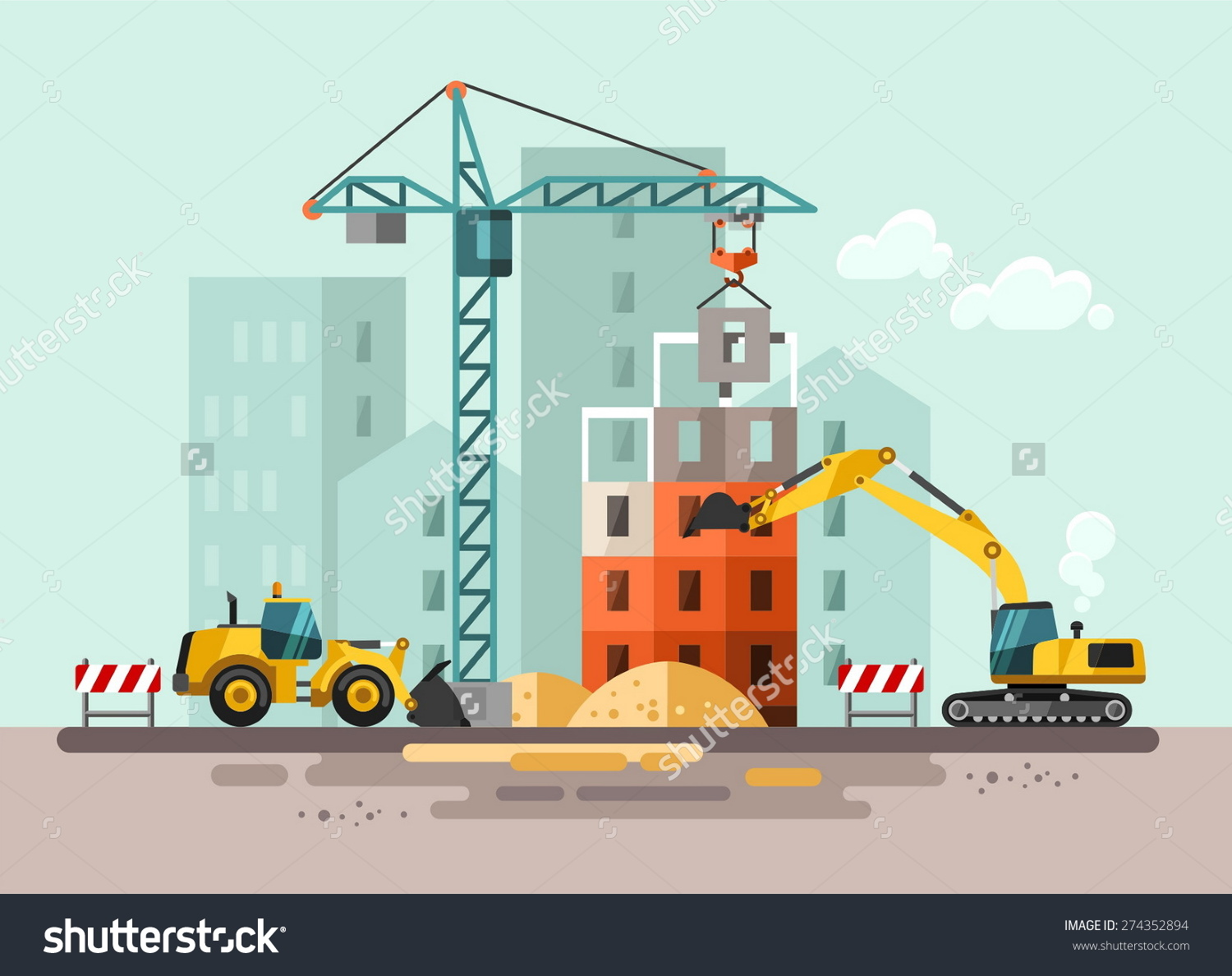 Clipart construction site graphic black and white library Clipart construction site - ClipartFest graphic black and white library