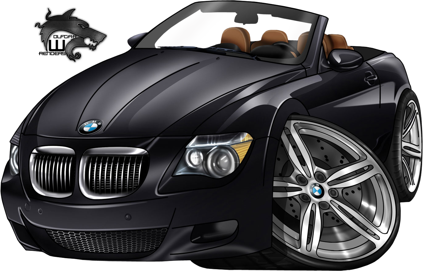 Clipart convertible car graphic royalty free library Vehicle Renders - BMW-Cartoon-Car - Signature Labs Render Gallery ... graphic royalty free library