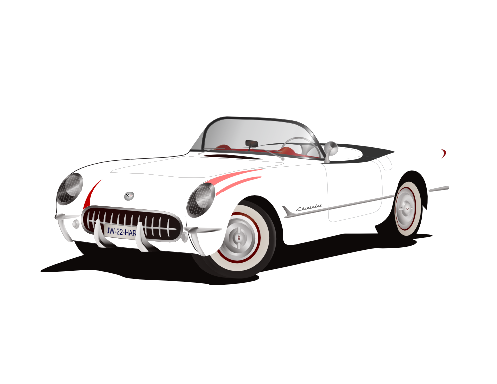 Clipart convertible car clipart black and white library Corvette red hunky dory svg clipart - WikiClipArt clipart black and white library