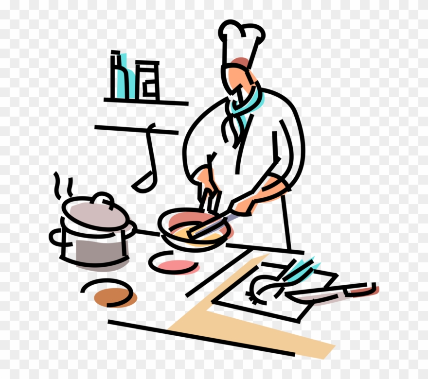Clipart cook graphic library stock Chief Clipart Line Cook - Preparing Food Clipart - Png Download ... graphic library stock
