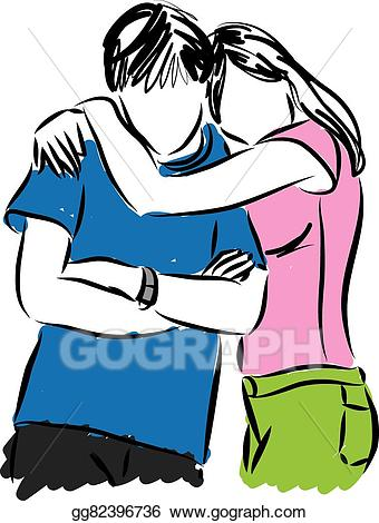 Clipart couple hugging banner library Vector Stock - Couple hugging illustration. Clipart Illustration ... banner library