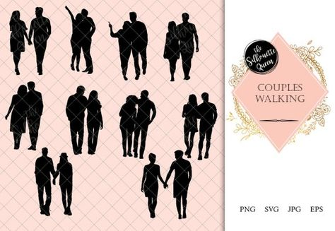 Clipart couple walking graphic black and white Couple Walking Silhouette   People Walking Clipart   Evening Walk ... graphic black and white