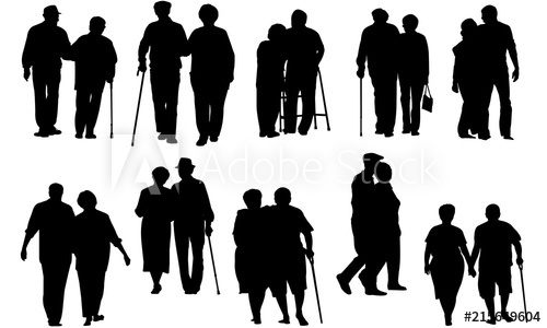 Clipart couple walking vector transparent stock Senior Couple Walking Silhouette   Old People on a Walk Vector ... vector transparent stock