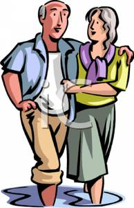 Clipart couple walking jpg library stock Happy Senior Couple Walking Together - Royalty Free Clipart Image jpg library stock