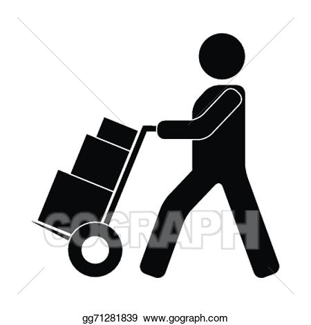 Clipart courier clip library download EPS Illustration - Truck with boxes and courier. Vector Clipart ... clip library download