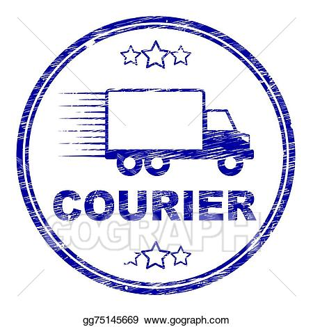 Clipart courier jpg black and white download Stock Illustration - Courier stamp means delivery shipping and ... jpg black and white download
