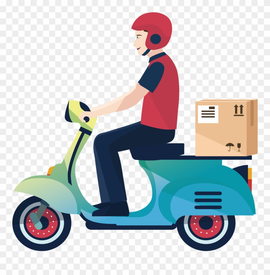 Clipart courier clip art royalty free Delivery Motorcycle Courier Logistics Service A - Delivery Boy ... clip art royalty free