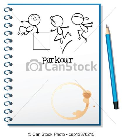 Clipart cover page clipart black and white stock Vector Clip Art of Illustration of a notebook with a sketch of a ... clipart black and white stock